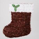Santa Christmas Stocking White Red Green — Stock Photo