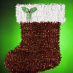 Santa Christmas Stocking Green Red White — Stock Photo