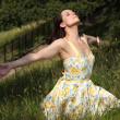 Woman soaking up summer sun in countryside - Stock Photo