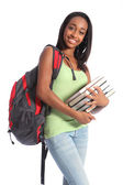 African American teenage student and school books — Stock Photo