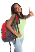 African American teenage school girl happy success — Stock Photo