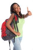 African American teenage school girl happy success — Stock Photo