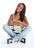 African American teenage school girl with books — Stock Photo