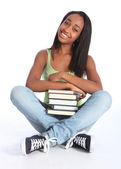 African American teenage school girl with books — Stock Photo