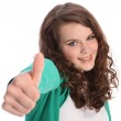 Beautiful smile of success by pretty teenager girl — Stock Photo #7044237