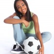 African American teenage soccer school girl — Stock Photo #7044770