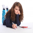 Teenager girl maths homework with calculator — Stock Photo #7045341