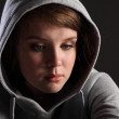 Stress and depression for sad teenager girl — Stock Photo
