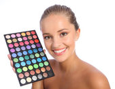 Beautiful make up artist eyeshadow colour palette — Stok fotoğraf