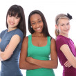 Multi cultural group teenage school girl friends — Stock Photo #7126975