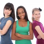 Multi cultural group teenage school girl friends — Stock Photo