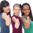 Success for ethnic mix three student girl friends — Stock Photo #7127251