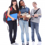 Happy teenage ethnic student girls in education — Stock Photo