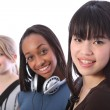 Japanese teenage student girl with school friends — Stock Photo