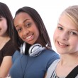 Blonde teenage student girl and ethnic friends - Stock Photo
