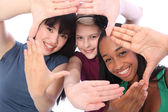 Ethnic culture and fun three student girl friends — Stock Photo
