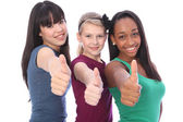 Success for ethnic mix three student girl friends — Stock Photo