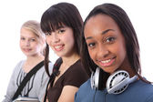 African American teenage student girl and friends — Stock Photo