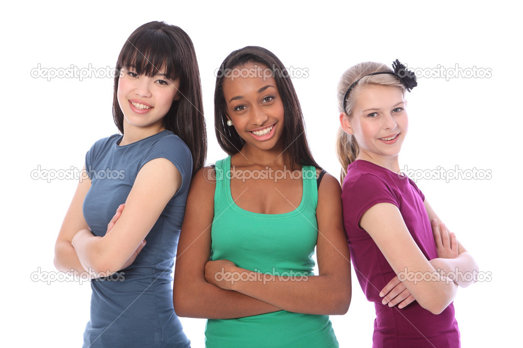 Three multi cultural teenage school student friends made up of mixed race african american, oriental Japanese and caucasian all happy and smiling together. — Stock Photo #7126975