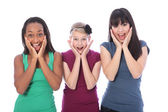 Excited surprise for ethnic teenage girl friends — Stock Photo