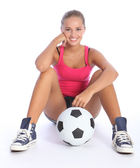 Beautiful smile from young teenage sports girl — Stock Photo