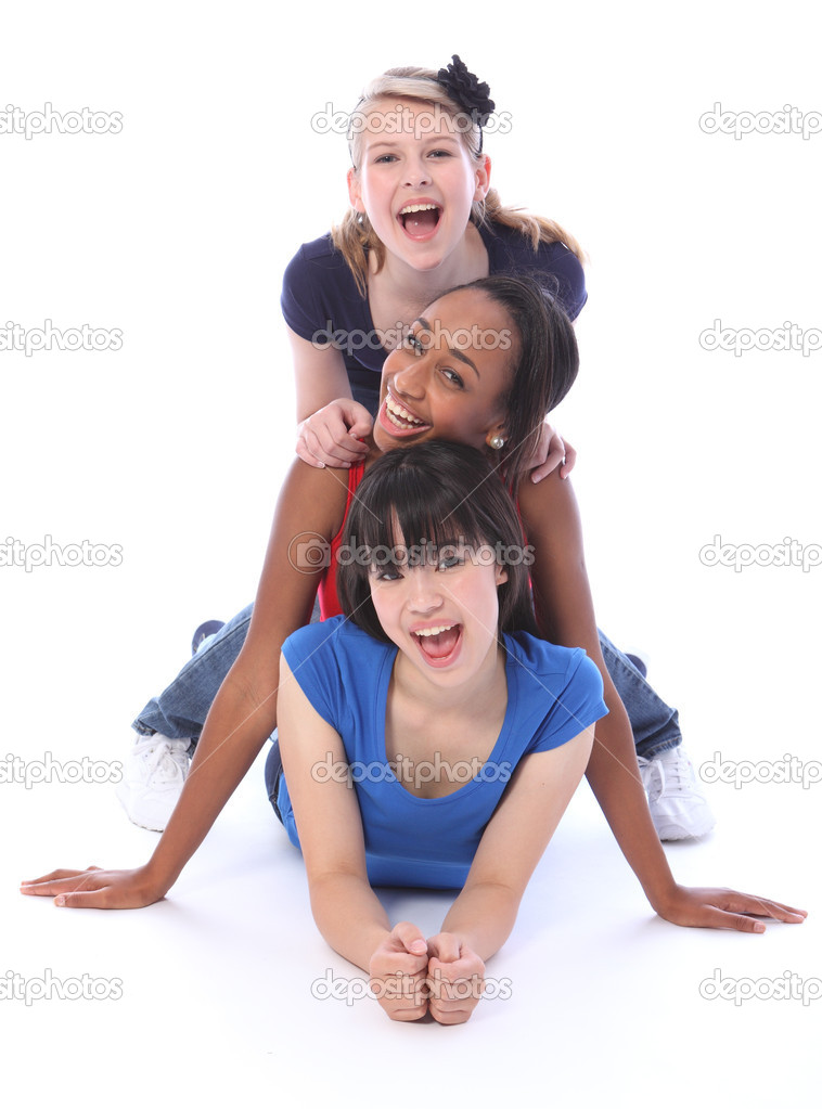 Human totem pole fun by three multi cultural teenage school student friends made up of mixed race african american, oriental Japanese and caucasian. — Stock Photo #7133177