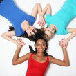 Fun star shape by three teenage girl friends — Stockfoto