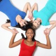 Royalty-Free Stock Photo: Fun star shape by three teenage girl friends