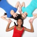 Fun star shape by three teenage girl friends — Stock Photo