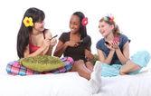 Slumber party spellen make-up voor tienermeisjes — Stockfoto