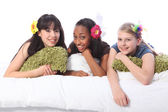 Teenage girls slumber party with hair accessories — Stock Photo