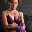 Sexy african american glamour and lingerie model — Stock Photo