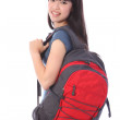 Ethnic student girl off to education class — Stock Photo