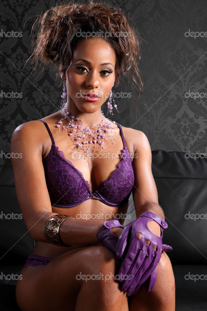 Sexy African American Glamour And Lingerie Model Stock