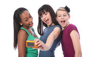 Teenage girls fun self portrait photography — Stock Photo