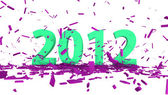 Green date 2012 with abstract pink confetti — Stock Photo