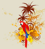 Summer background with palm and parrot — Stock Vector
