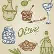 Stock Vector: Retro olive icons