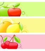 Arrière-plans colorés de fruits — Vecteur