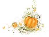 Halloween pumpkin and floral ornament — Vector de stock