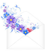 Envelope with blue flowers — Stock Vector