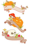 Halloween banners with ribbons — Stock Vector