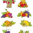 Vintage fruits set - Stock Vector
