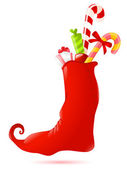 Christmas sock with gifts — Vector de stock