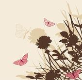 Sfondo floreale con fiori di trifoglio — Vettoriale Stock