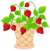 Basket of strawberries — Vector de stock