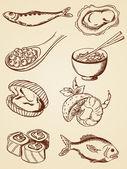 Hand drawn vintage seafood — Stock Vector