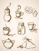 Hand drawn vintage coffee icons — Stock Vector