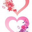 Hearts with flowers — Imagen vectorial