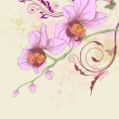Floral background with orchid and ornament - Stok Vektör